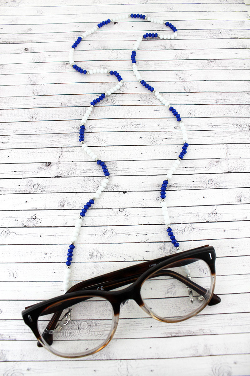 Blue and White Faceted Bead Eyeglasses Strap Necklace