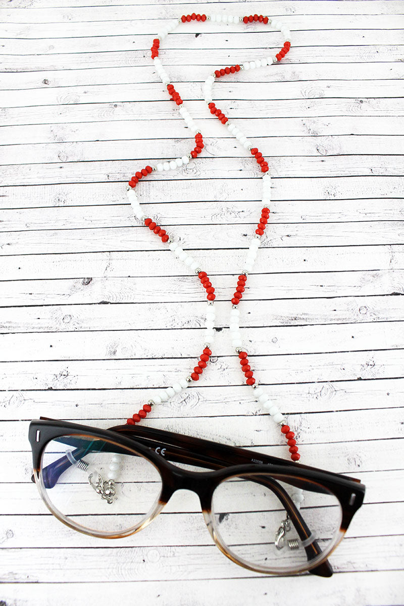 Burnt Orange and White Faceted Bead Eyeglasses Strap Necklace