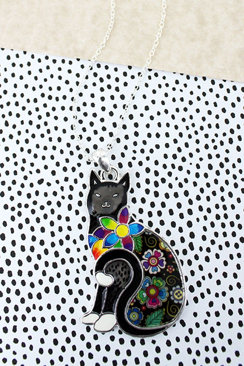 Flower Power Black Cat Pendant Necklace