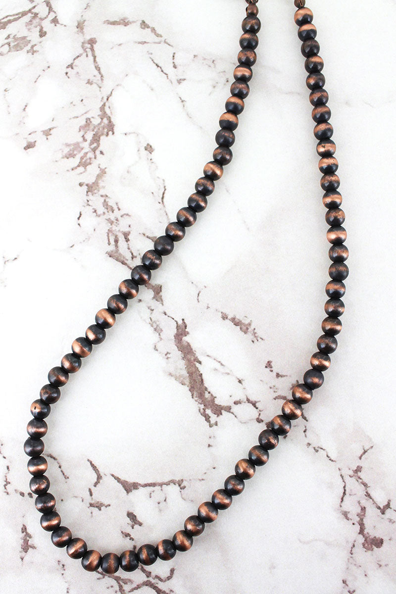 Copper Navajo Pearl 6mm Necklace