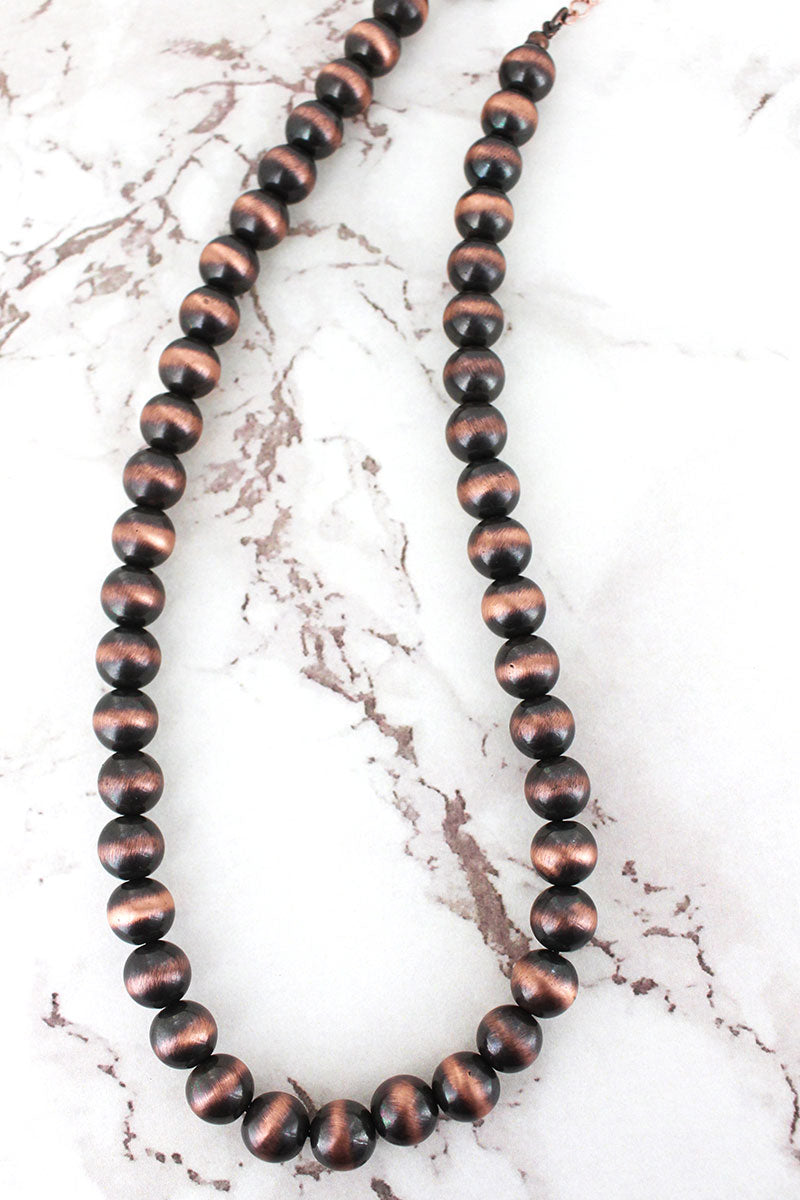 Copper Navajo Pearl 10mm Necklace