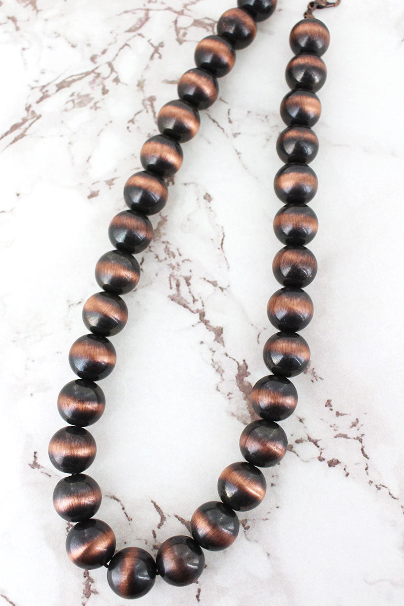 Copper Navajo Pearl 14mm Necklace