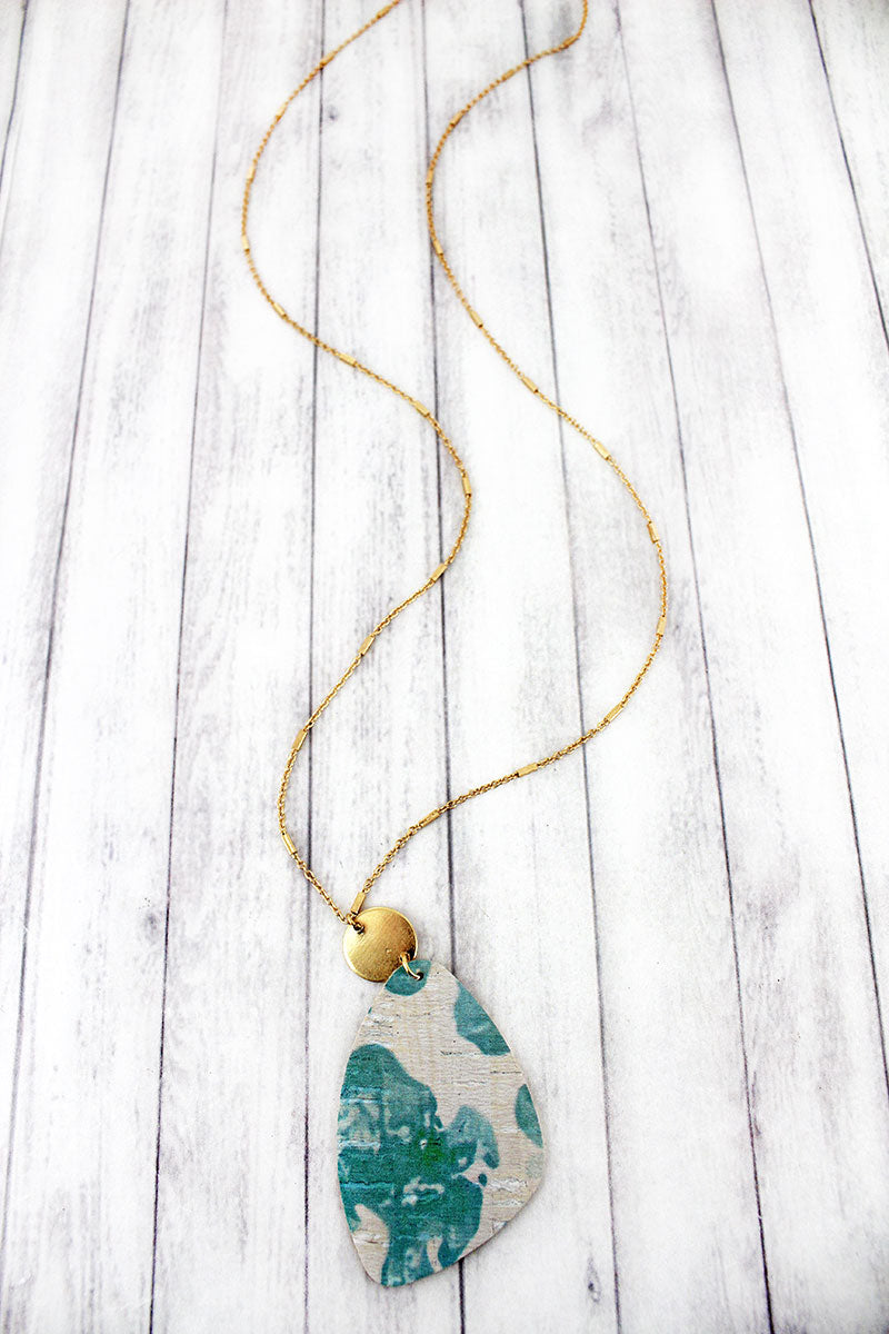 Goldtone Disk and Blue Watercolor Splatter Cork Pendant Necklace
