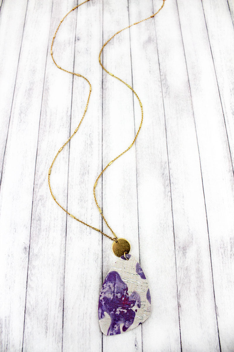 Goldtone Disk and Lavender Watercolor Splatter Cork Pendant Necklace