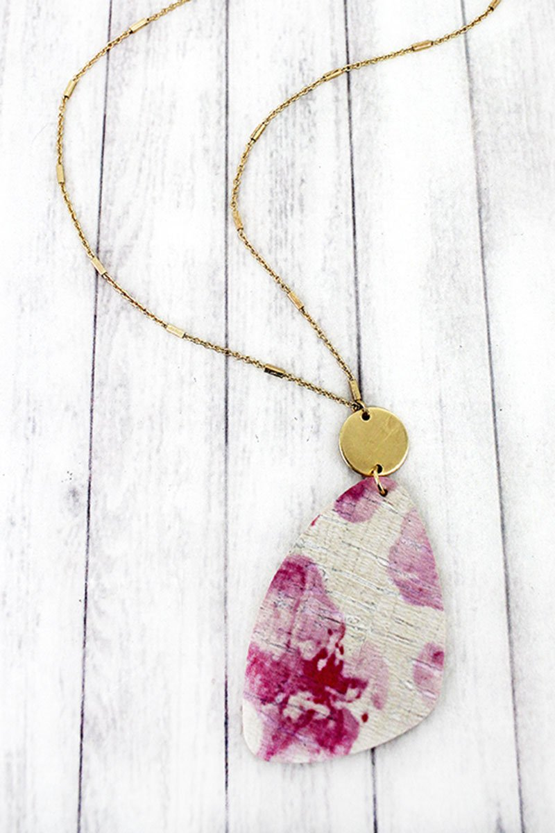 Goldtone Disk and Pink Watercolor Splatter Cork Pendant Necklace