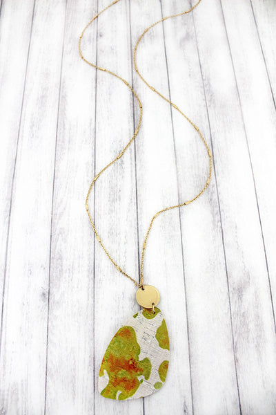 SALE! Goldtone Disk and Yellow Watercolor Splatter Cork Pendant Necklace
