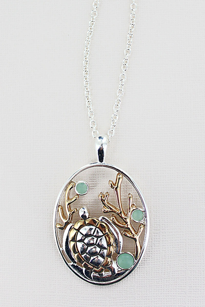 Turquoise Sea Glass and Two-Tone Turtle Oval Necklace