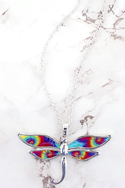 Tie-Dye Dragonfly Necklace