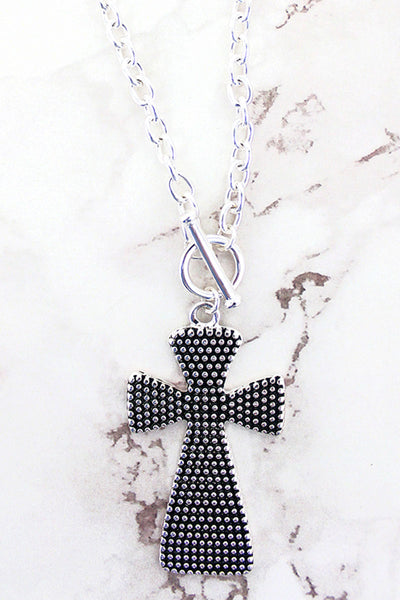 Dot Textured 'John 3:16' Dual Side Cross Pendant Necklace