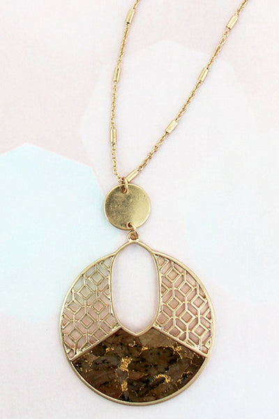 Goldtone Filigree and Brown Cork Cut-Out Disk Necklace