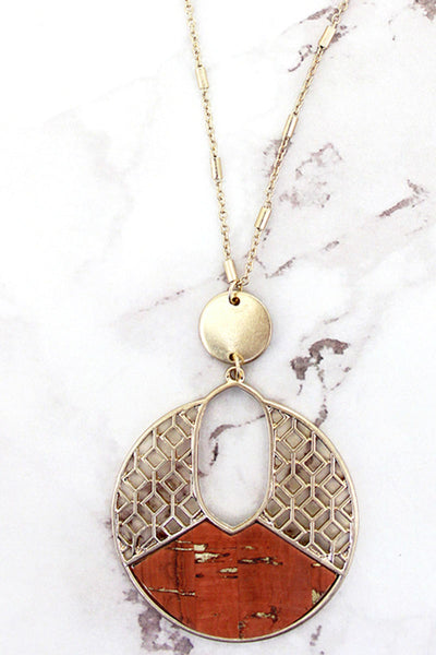 Goldtone Filigree and Coral Cork Cut-Out Disk Necklace