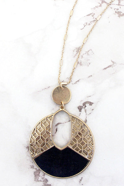Goldtone Filigree and Black Cork Cut-Out Disk Necklace