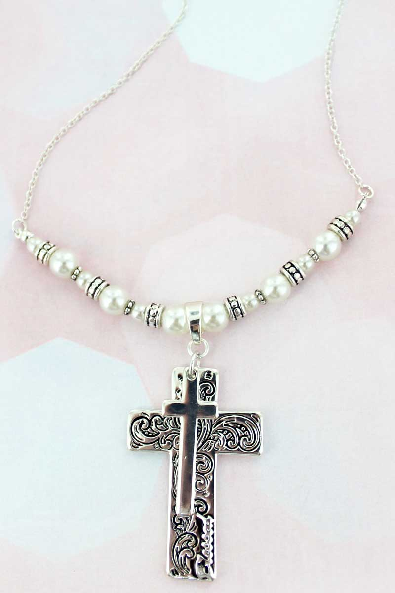 Silvertone Scroll Layered Cross Pearl Necklace