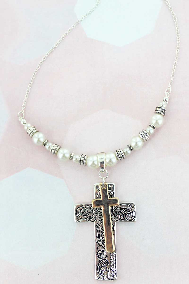 Two-Tone Scroll Layered Cross Pearl Necklace