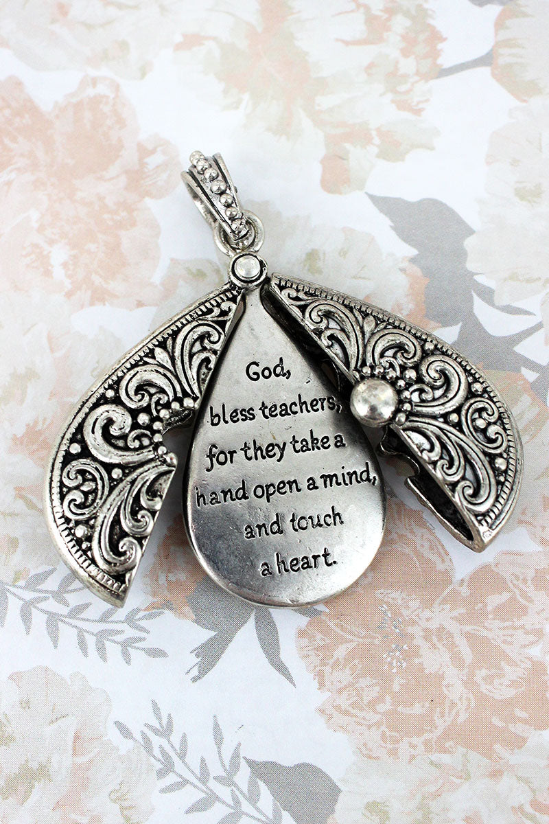Worn Silvertone 'Teacher's Blessing' Message Locket Pendant