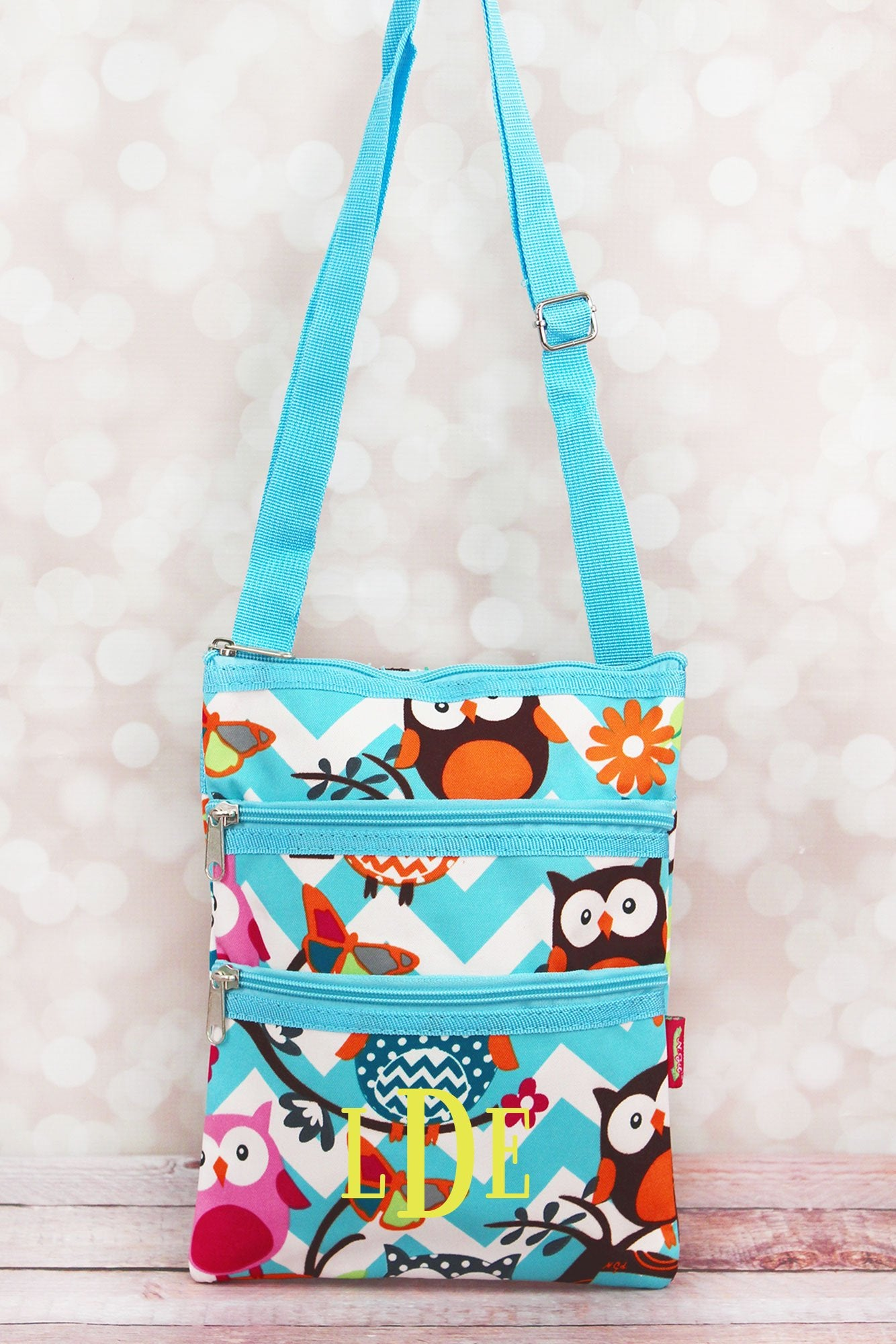 Aqua Chevron Owl Party Crossbody Bag