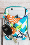 NGIL Aqua Chevron Owl Party Quilted Wristlet