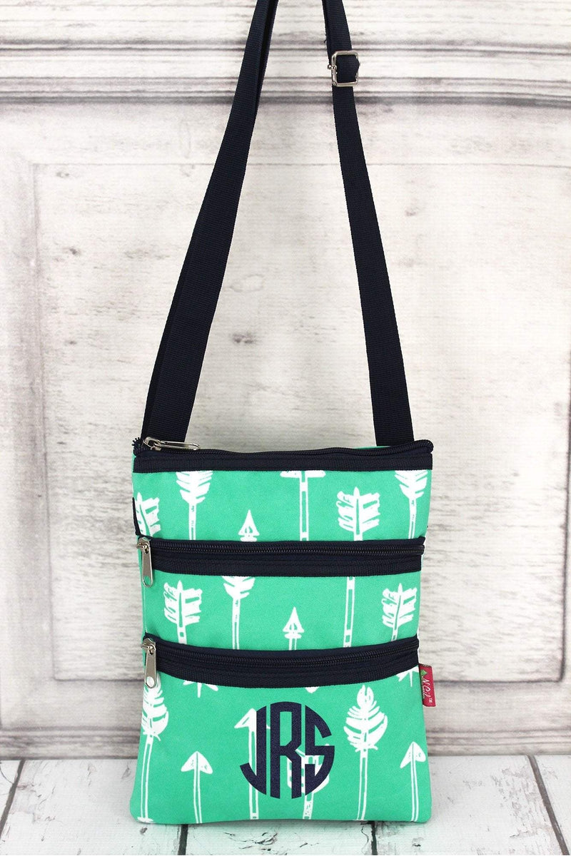 Straight & Arrow Mint Crossbody Bag with Navy Trim #ARB231-MINT