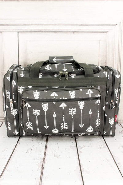 NGIL Straight & Arrow Gray Duffle Bag 20""