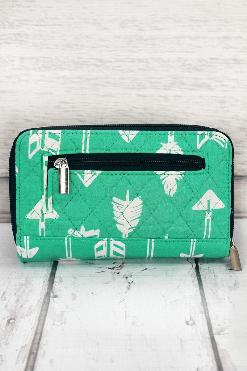 Straight & Arrow Mint with Navy Trim Quilted Organizer Clutch Wallet #ARB517-MINT