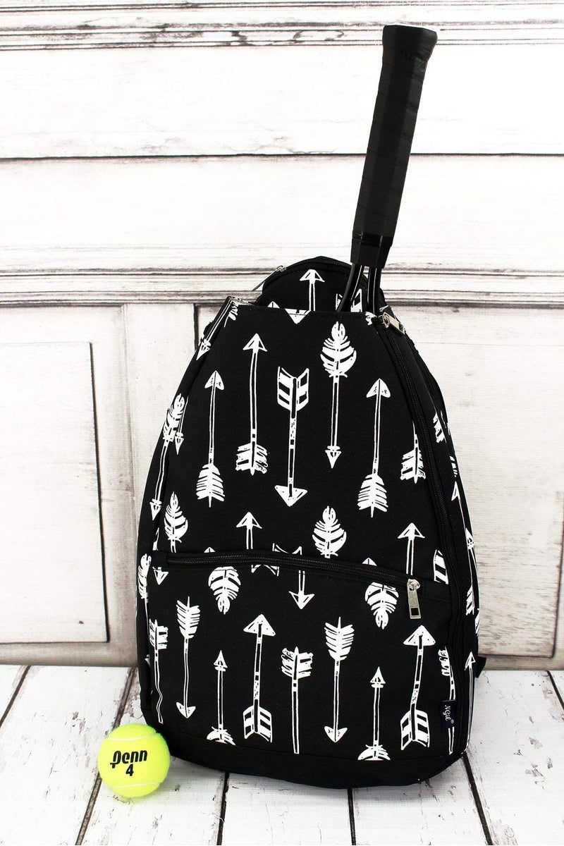 NGIL Straight & Arrow Black Tennis Backpack