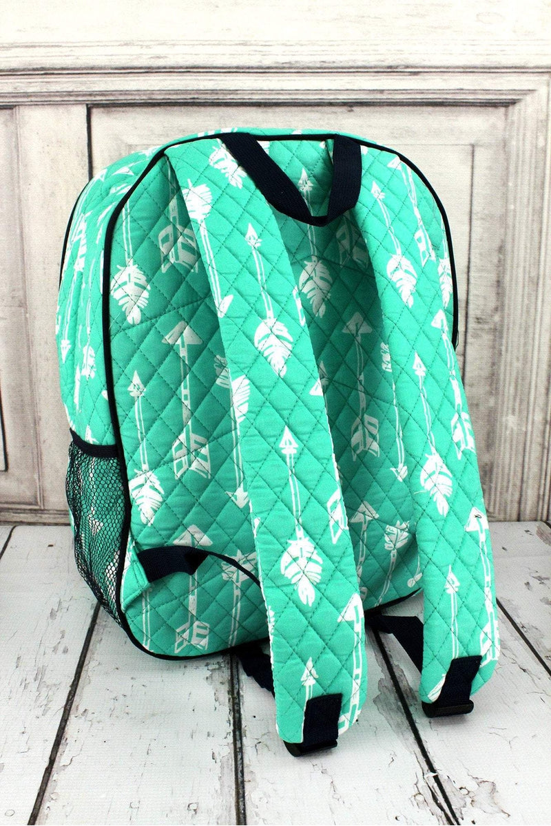 NGIL Straight & Arrow Mint Quilted Oversized Backpack with Navy Trim