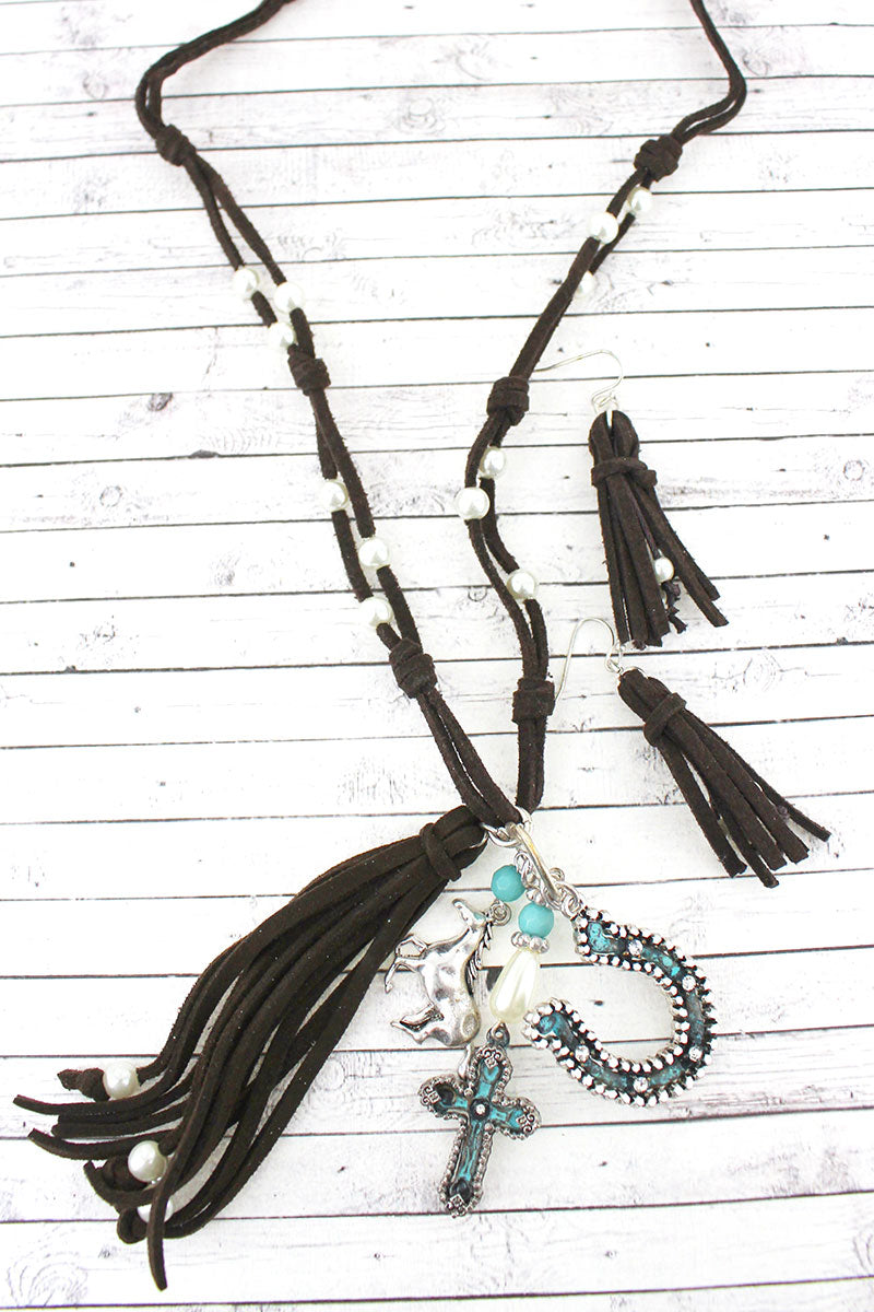 Two-Tone Horse and Brown Faux Suede Tassel Necklace and Earring Set