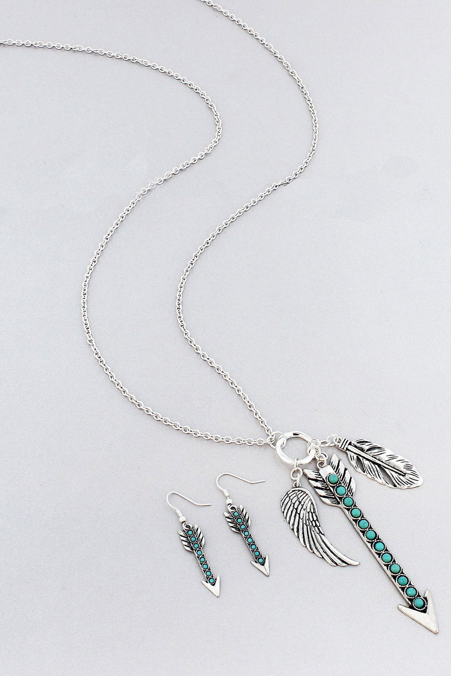 Worn Silvertone Turquoise Beaded Arrow Cluster Pendant Necklace and Earring Set