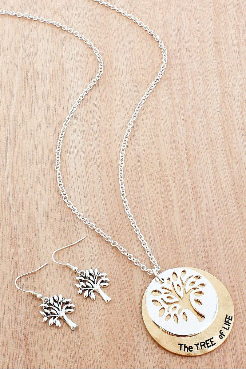 Two tone cut out tree of life layered disk pendant necklace and two tone cut out tree of life layered disk pendant necklace and earring set aloadofball Images