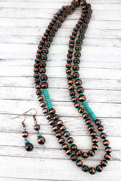 Copper Navajo Pearl and Turquoise Bead Long Necklace and Earring Set