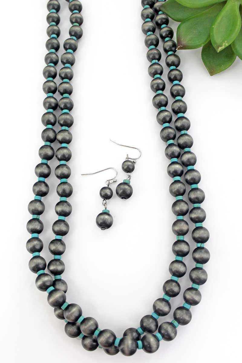 Silver Navajo Inspired Pearl and Turquoise Bead Endless Necklace and Earring Set