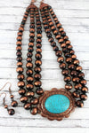 Copper Navajo Pearl Turquoise Oval Multi-Strand Necklace and Earring Set