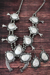 Silvertone and Howlite Stone Squash Blossom Necklace and Earring Set