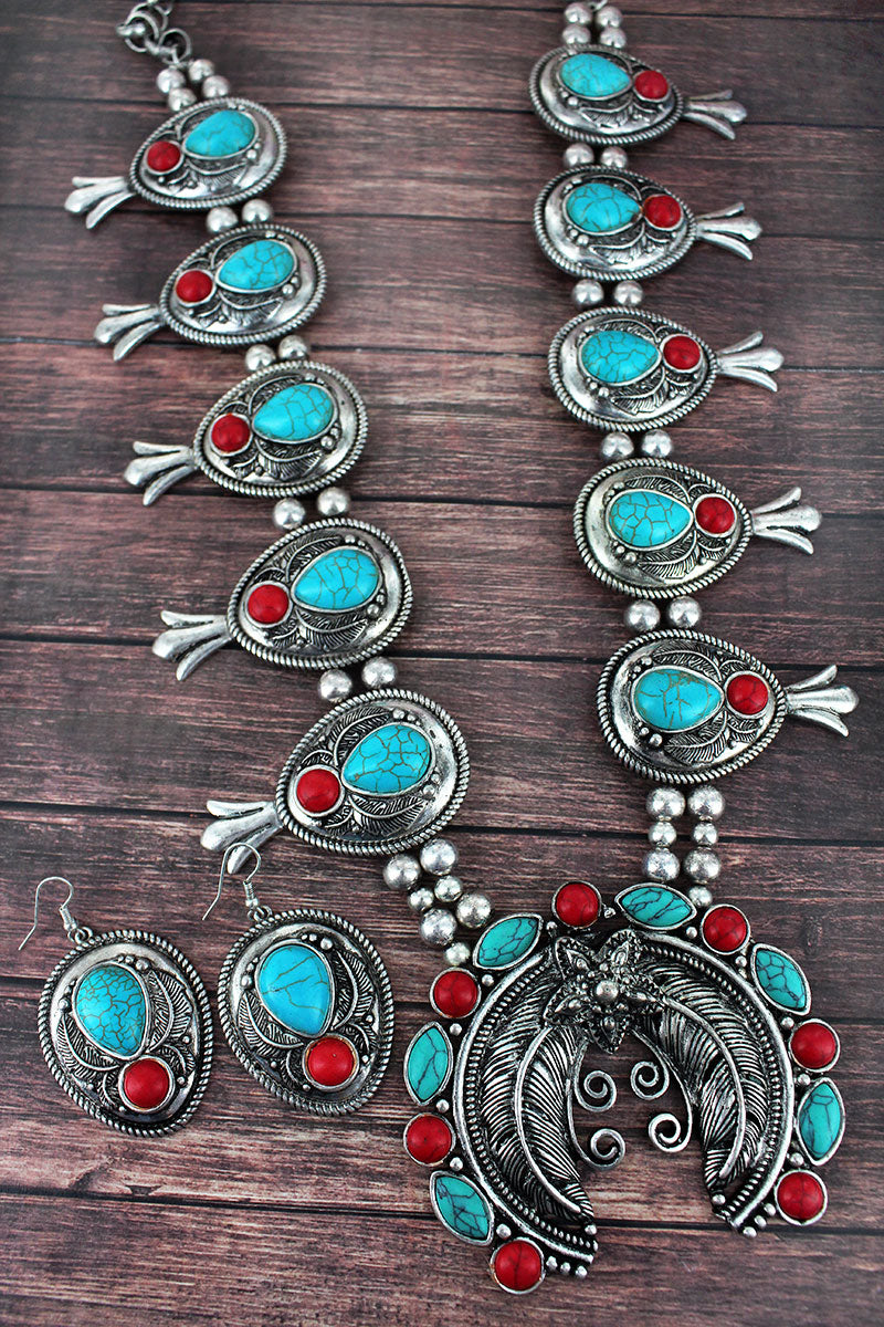 Turquoise and Coral and Silvertone Leaf Squash Blossom Necklace and Earring Set