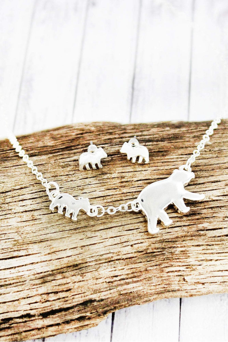 Silvertone Mama Bear and One Cub Necklace and Earring Set