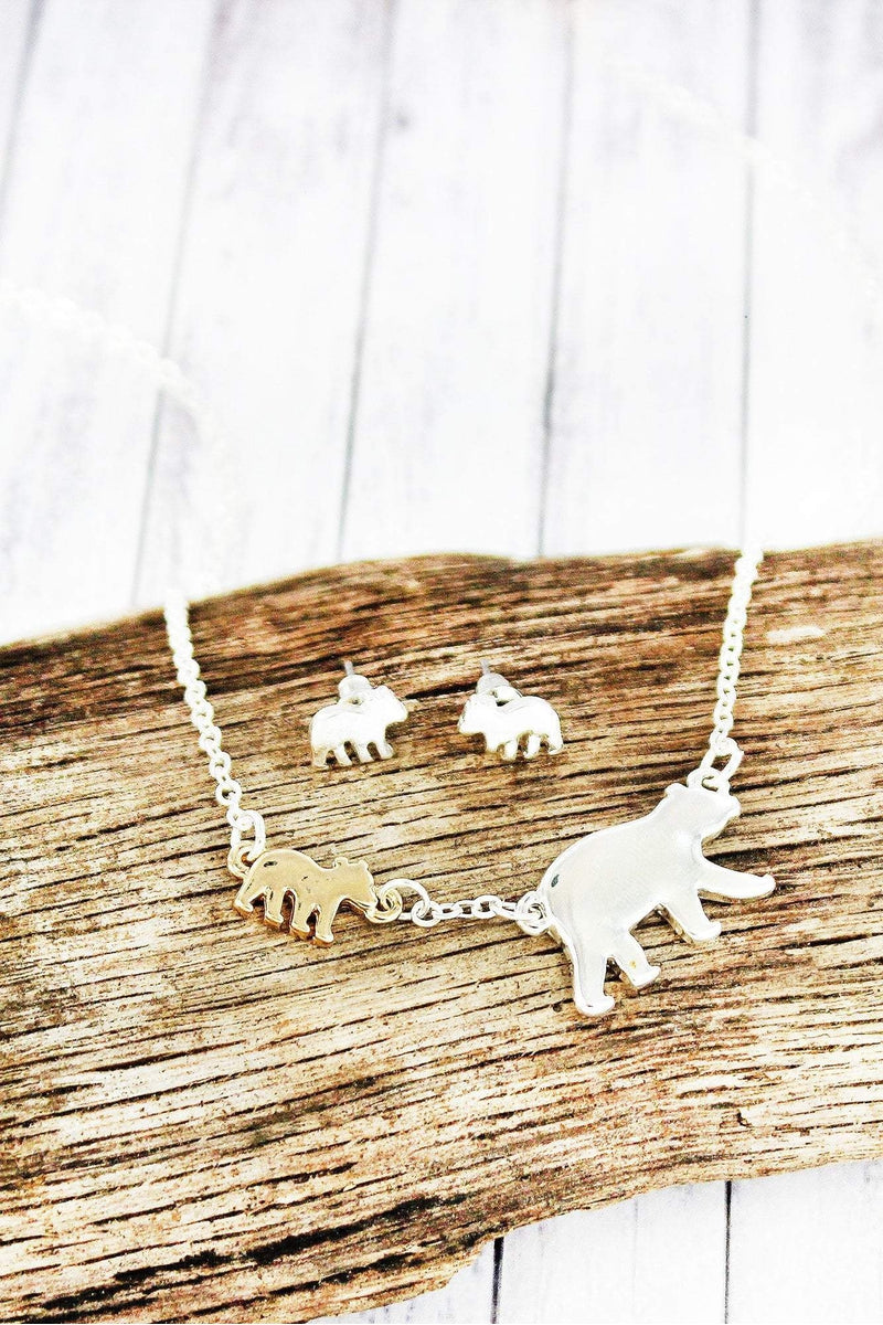 Two-Tone Mama Bear and One Cub Necklace and Earring Set