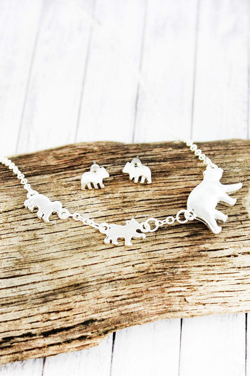 Silvertone Mama Bear and Two Cubs Necklace and Earring Set