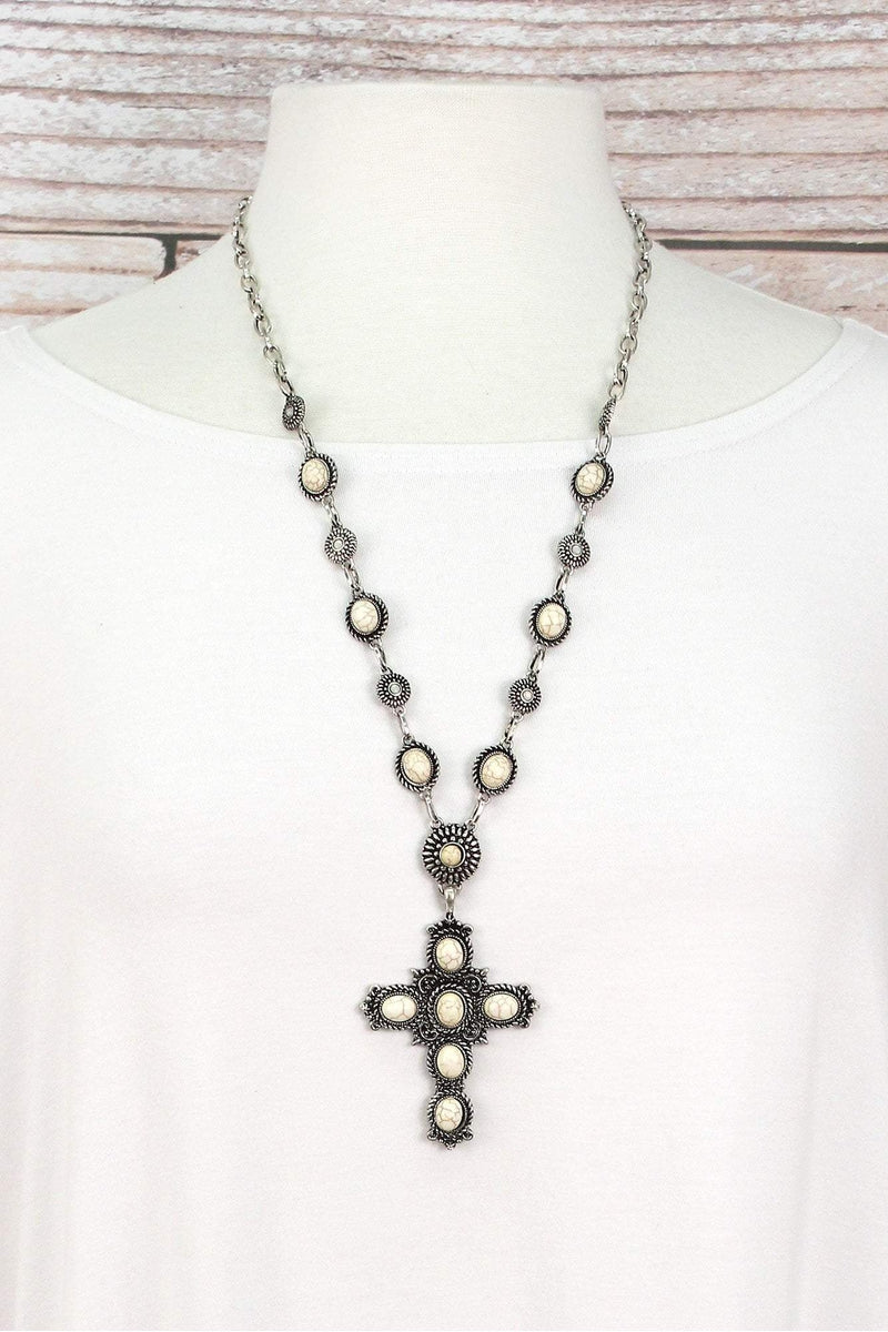 Howlite Beaded Burnished Silvertone Cross Necklace and Earring Set