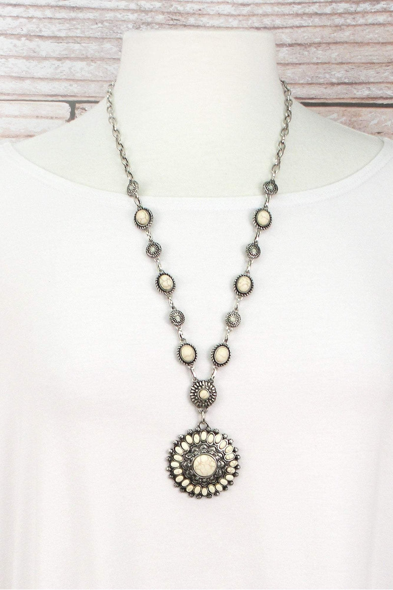 Howlite Beaded Burnished Silvertone Concho Necklace and Earring Set