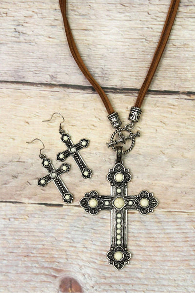 Howlite Beaded Western Cross Cord Necklace and Earring Set
