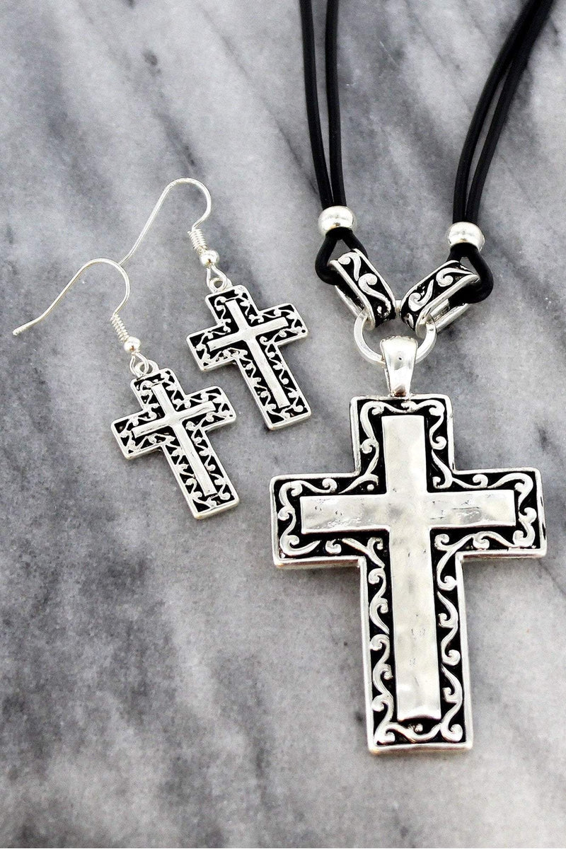Silvertone Scroll Trimmed Cross Black Cord Necklace and Earring Set