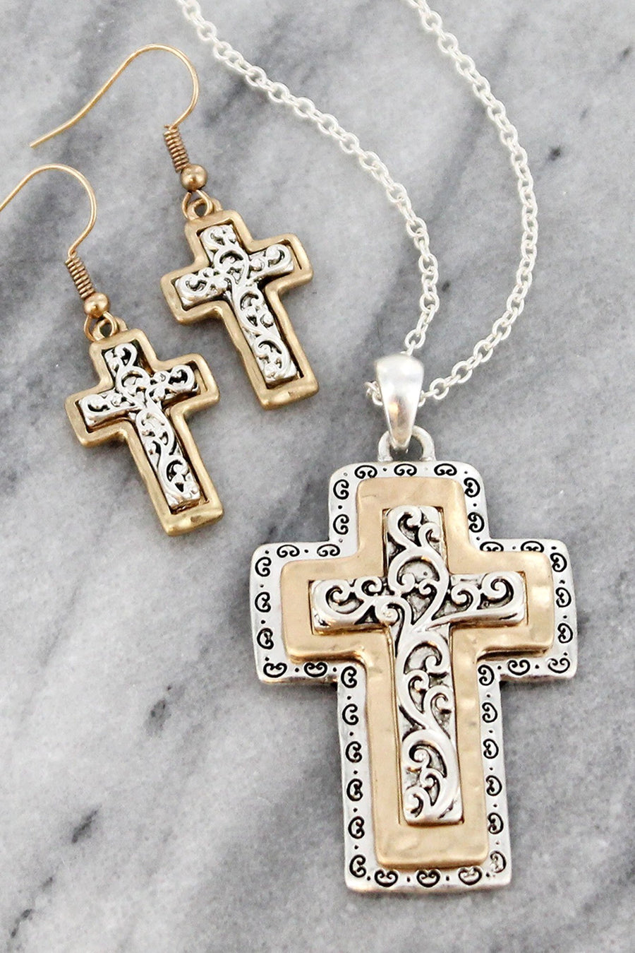 Worn Two-Tone Scroll Layered Cross Necklace and Earring Set