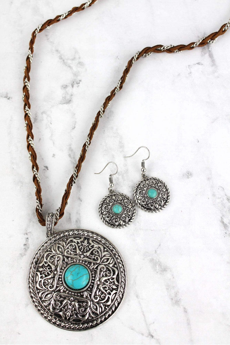 Western jewelry wholesale wholesale western bracelets wallets and burnished silvertone and turquoise medallion braided necklace and earring set aloadofball Choice Image