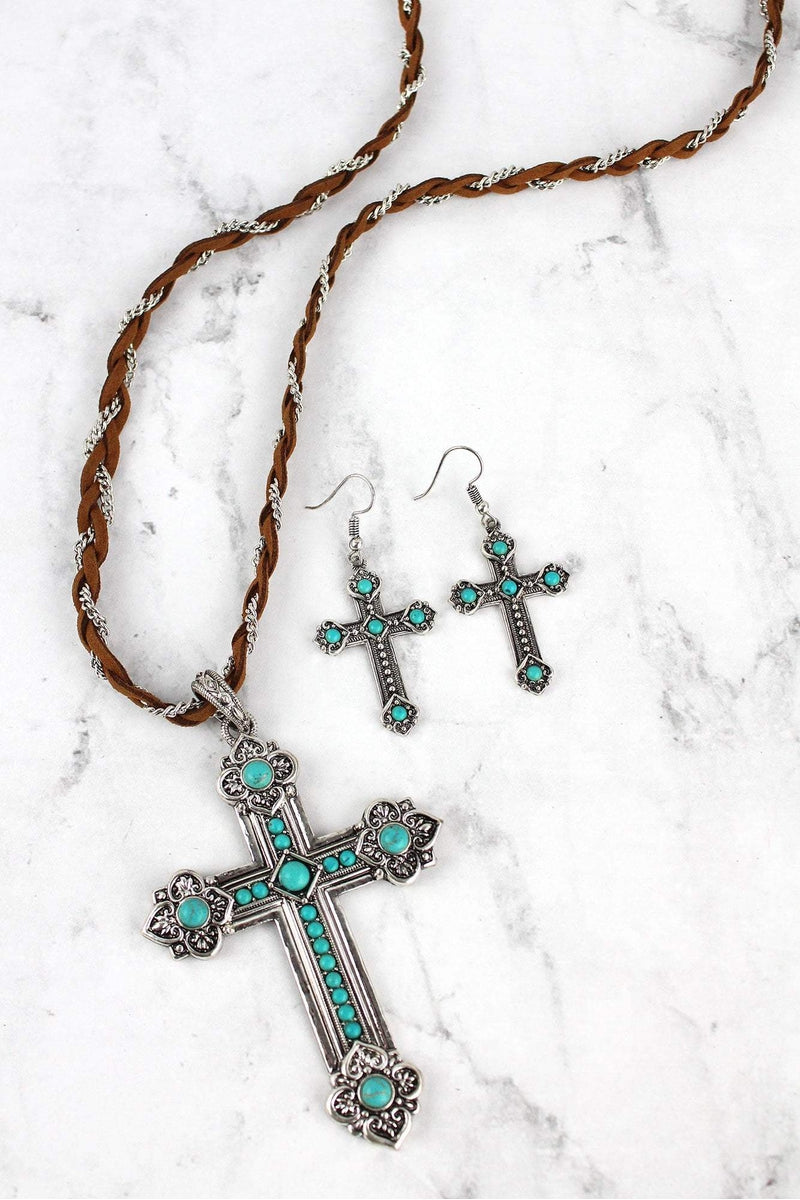 Burnished Silvertone and Turquoise Cross Braided Necklace and Earring Set
