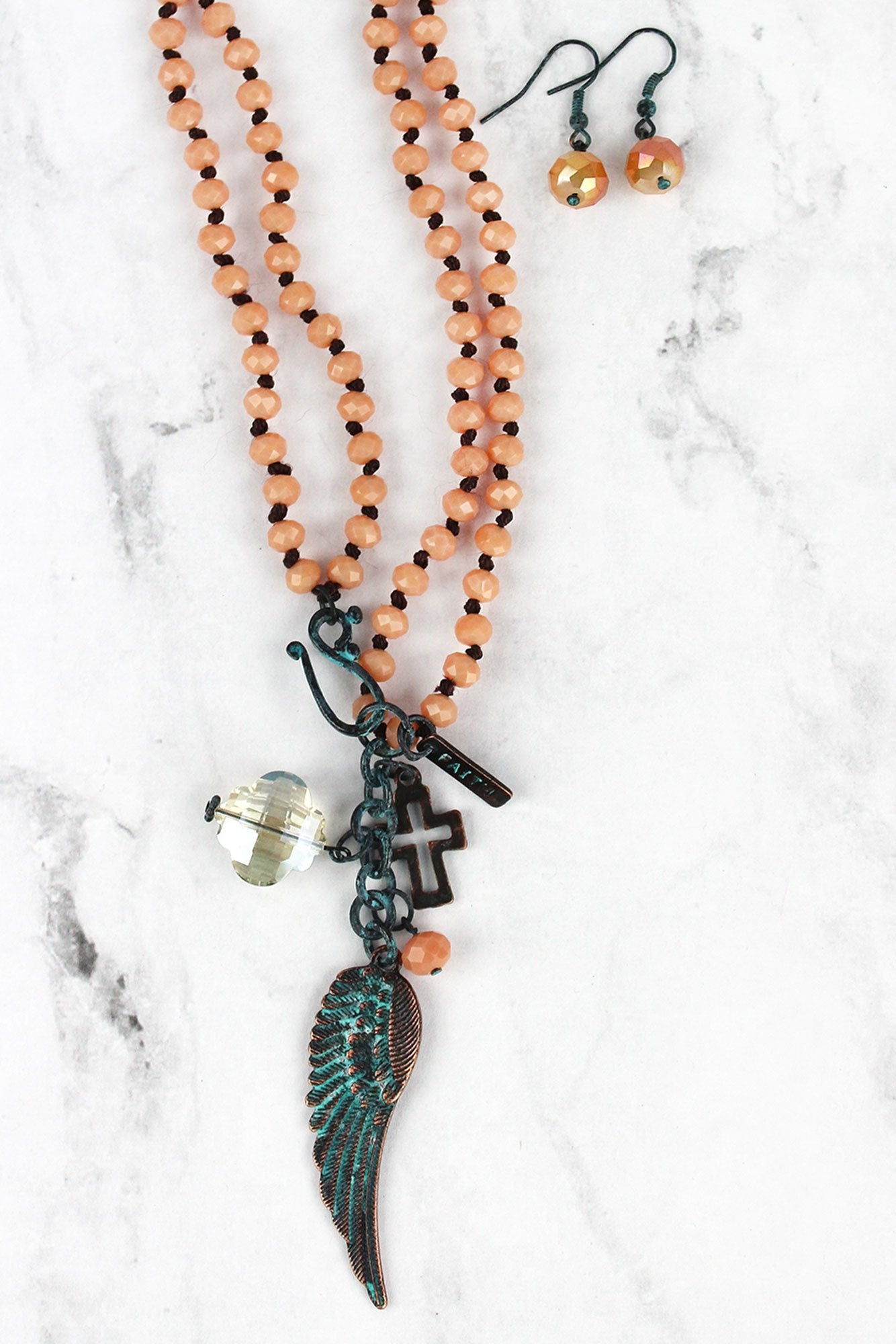 Patina Wing Pendant Apricot Beaded Dual Length Necklace and Earring Set