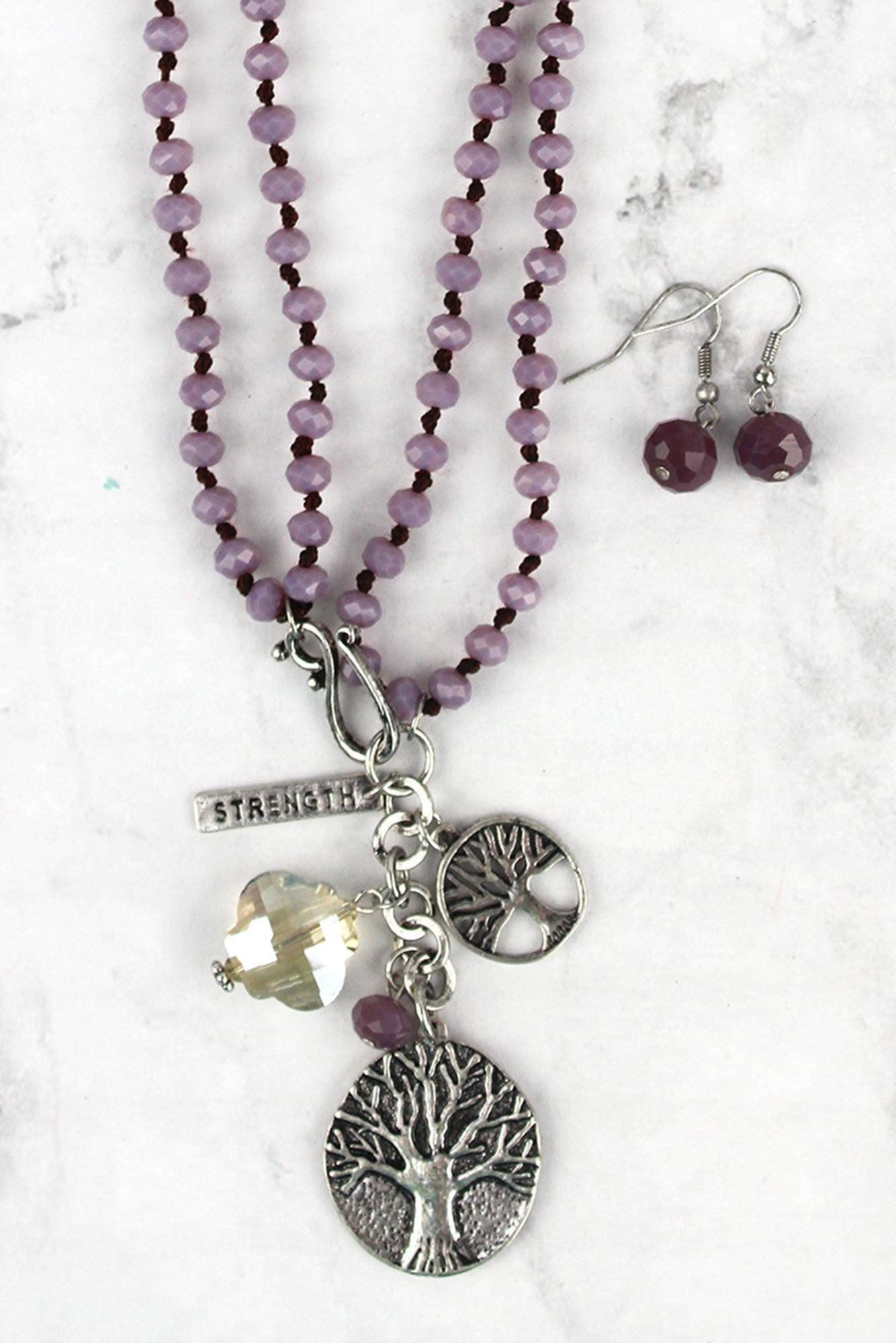 Silvertone Tree of Life Pendant Amethyst Beaded Dual Length Necklace and Earring Set
