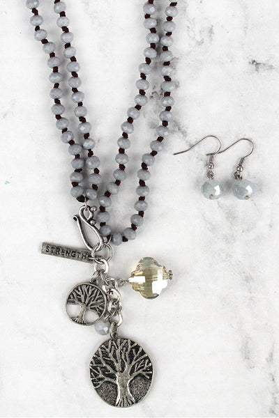 Silvertone Tree of Life Pendant Gray Beaded Dual Length Necklace and Earring Set