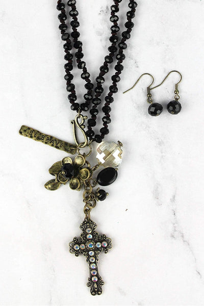 Brasstone Cross Pendant Jet Beaded Dual Length Necklace and Earring Set