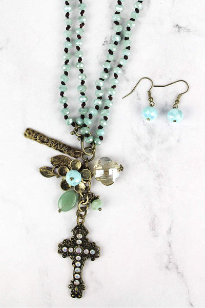 Brasstone Cross Pendant Mint Beaded Dual Length Necklace and Earring Set
