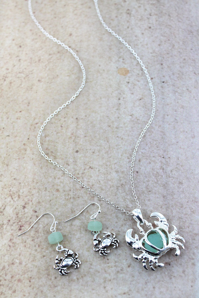 Cut-Out Silvertone and Turquoise Sea Glass Crab Necklace and Earring Set